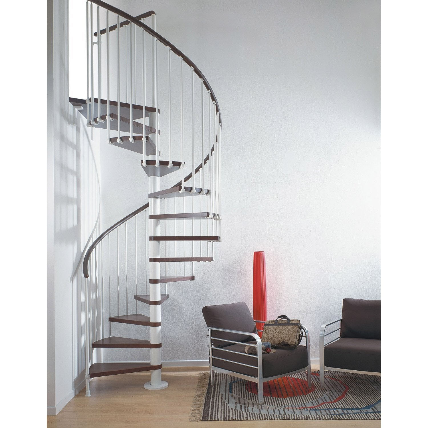 Escalier colima on rond ring marches bois structure m tal blanc leroy merlin - Escaliers leroy merlin ...