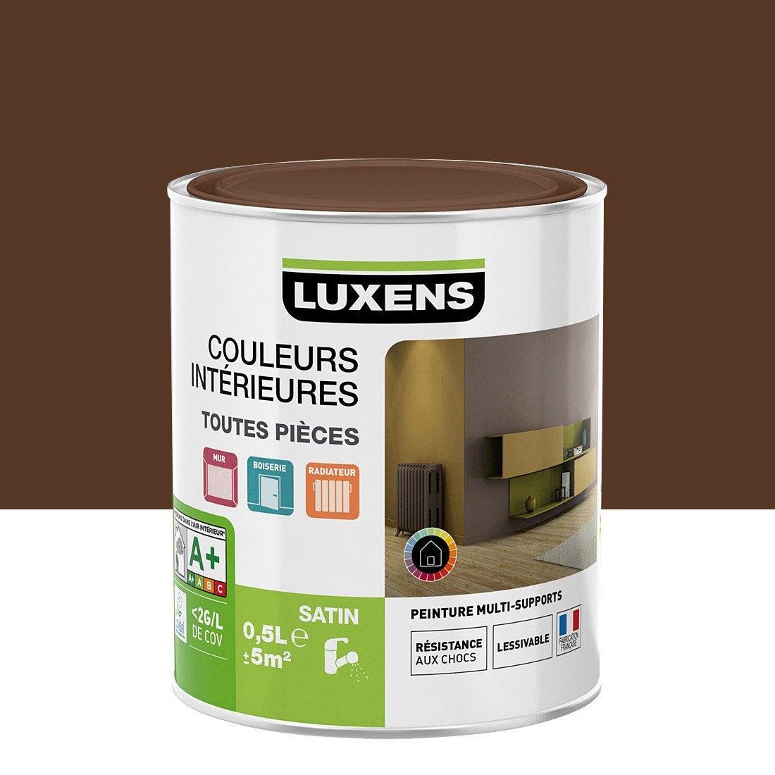 Peinture brun chocolat 2 luxens couleurs int rieures satin for Peinture bio leroy merlin