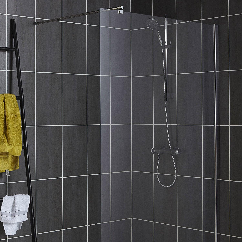Fa ence mur gris fonc eiffel x cm leroy merlin - Faience autocollante salle de bain ...