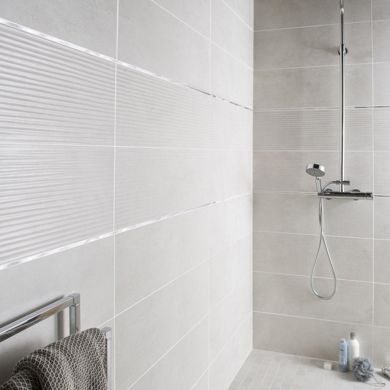 Fa ence mur blanc mineral live x cm leroy merlin - Faience salle de bain blanche ...