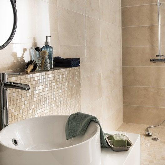 Fa ence mur taupe vision x cm salle de bain for Faience mur salle de bain