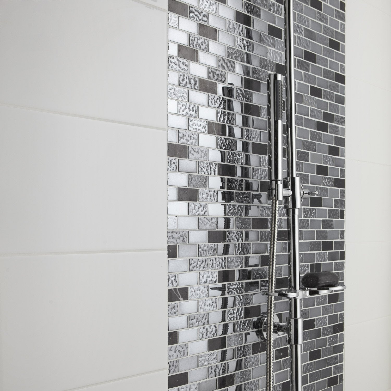 Fa ence mur blanc blanc n 0 loft brillant x - Faience murale leroy merlin ...