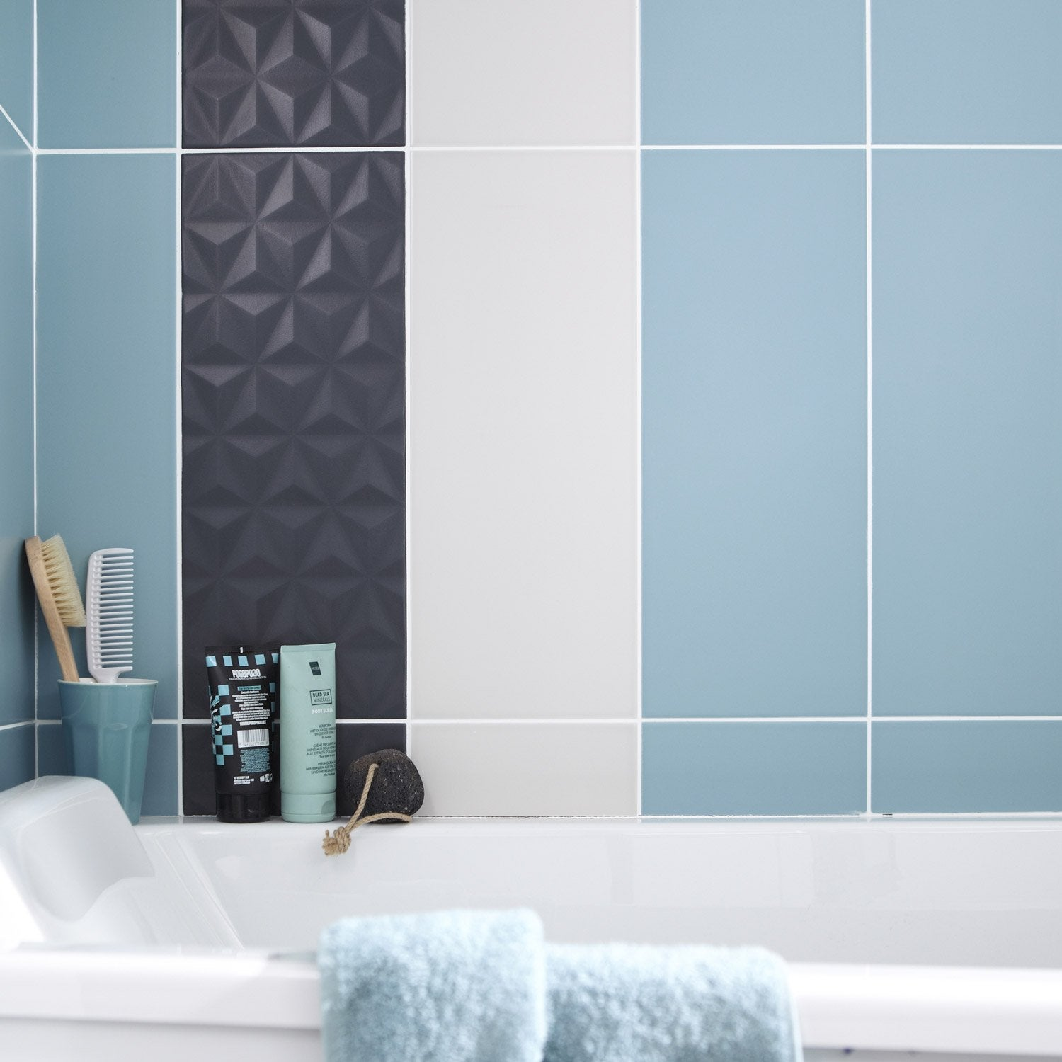Fa ence mur bleu baltique n 3 loft x cm for Enduit decoratif salle de bain leroy merlin