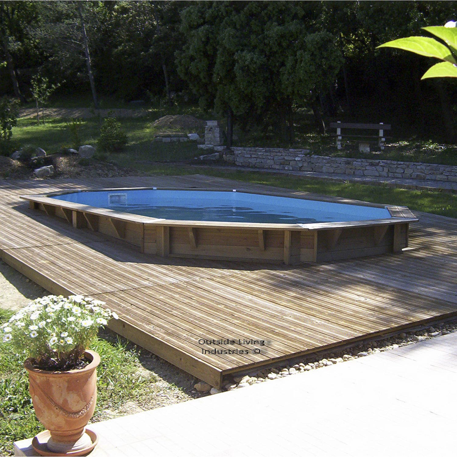 Piscine hors sol bois samoa diam l x l x for Piscine hors sol imposable