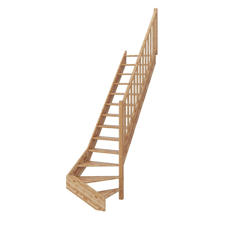 Escalier quart tournant bas droit deva bois lamell coll for Escalier 2 quart tournant leroy merlin