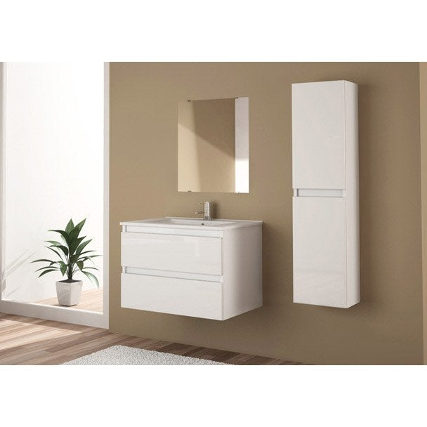 Meuble sous vasque miroir x x cm snow for Meuble vasque 70 cm leroy merlin