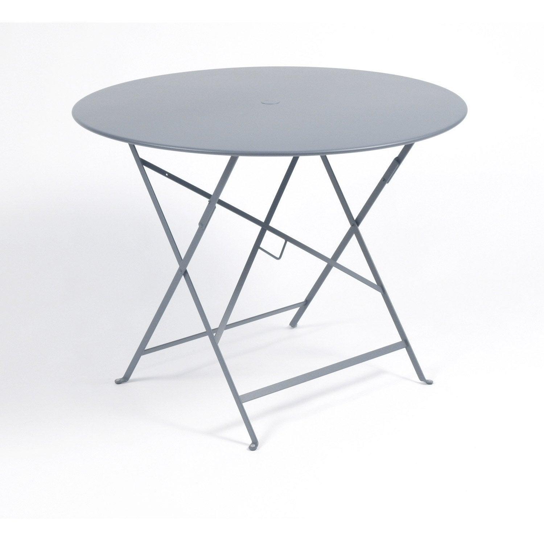 Table de jardin FERMOB Bistro ronde gris orage 4 personnes