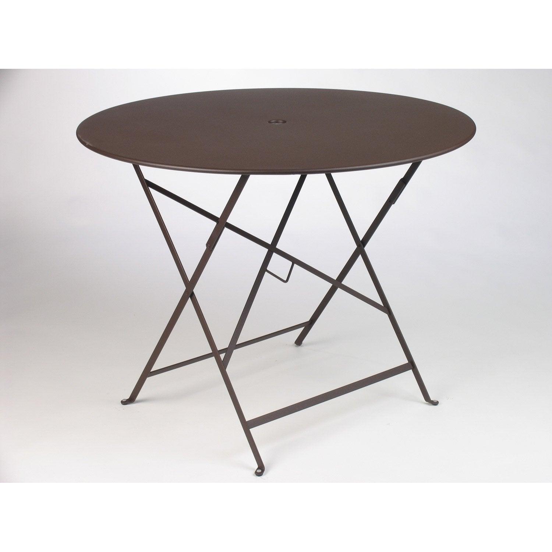 Table de jardin fermob bistro ronde rouille 4 personnes - Table ronde 4 personnes ...