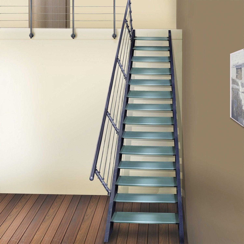 escalier droit lisa structure aluminium marche verre leroy merlin. Black Bedroom Furniture Sets. Home Design Ideas
