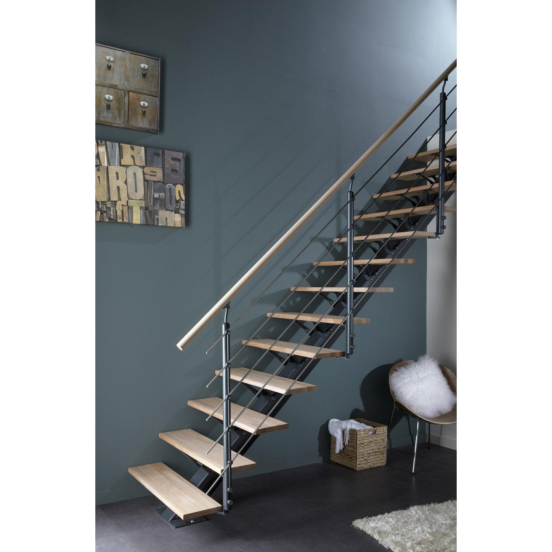 Escalier droit mona structure aluminium marche bois leroy merlin - Peinture pour escalier bois leroy merlin ...