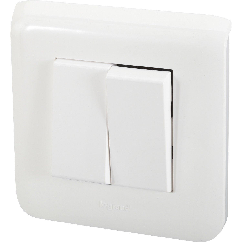 Double interrupteur va et vient mosaic legrand blanc for Interrupteur exterieur legrand