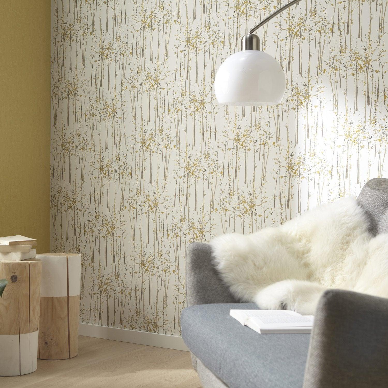 Papier peint intiss bouleau vert leroy merlin for Tapisserie salle de bains