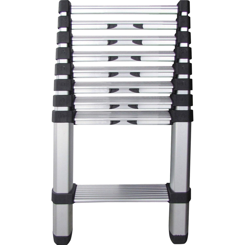 echelle t lescopique 9 marches hailo en aluminium leroy. Black Bedroom Furniture Sets. Home Design Ideas