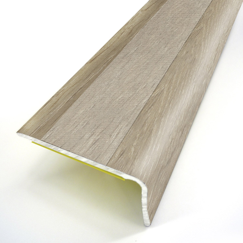 Nez de marche aluminium rev tu d co d cor ch ne x l 3 for Nez de marche carrelage leroy merlin