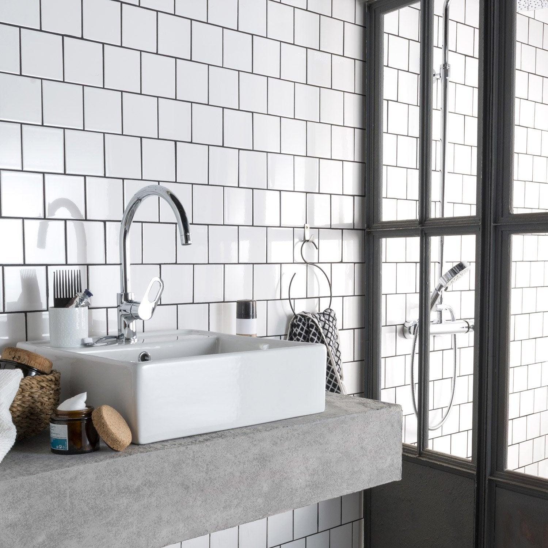 Fa ence mur blanc blanc n 0 brillant astuce x for Faience cuisine leroy merlin