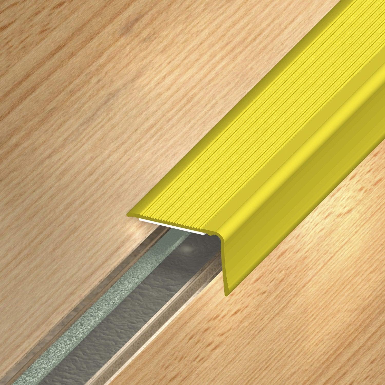 nez de marche aluminium anodis dor x l 3 6 cm leroy merlin. Black Bedroom Furniture Sets. Home Design Ideas