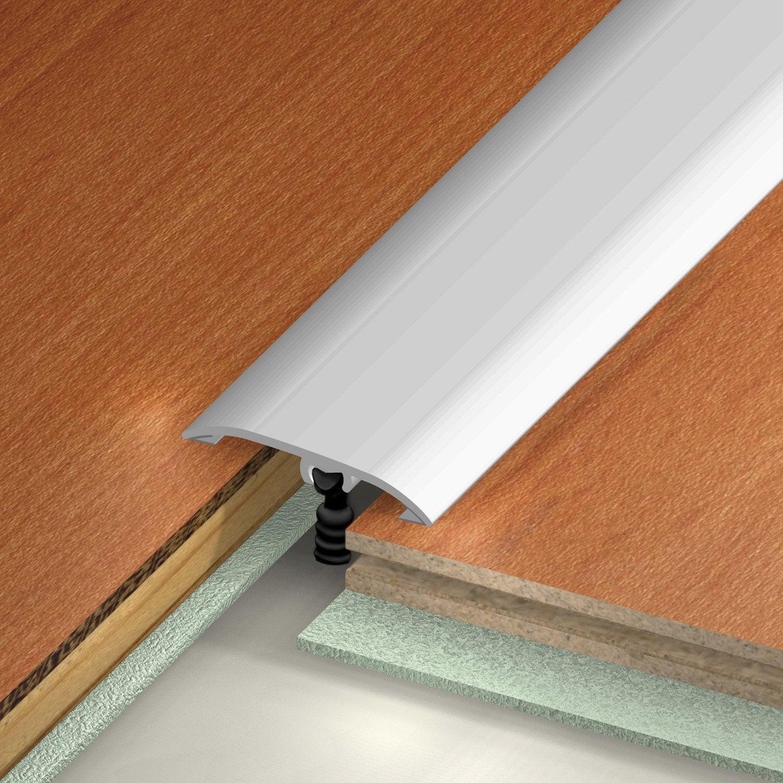 Barre de seuil aluminium rev tu d co gris x l 3 7 cm for Barre de seuil parquet carrelage