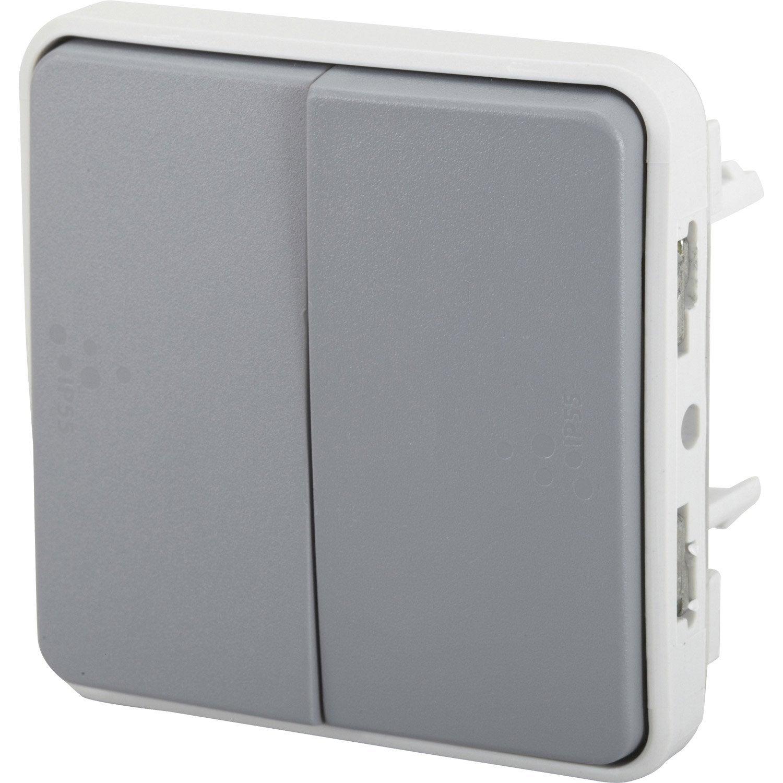 Double interrupteur va et vient tanche legrand plexo for Interrupteur sans fil exterieur