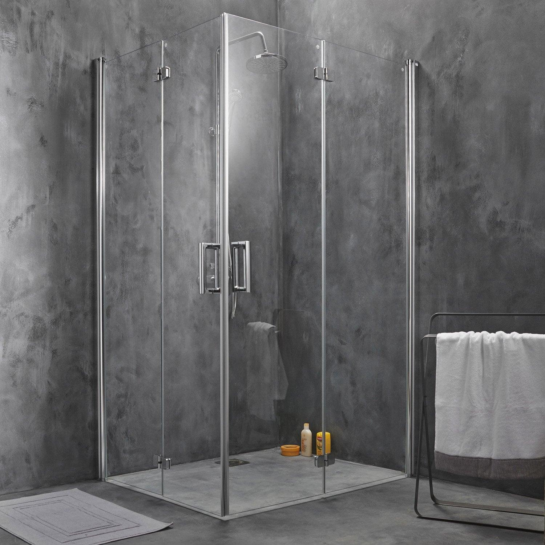 Porte de douche pivot pliant angle carr x cm for Porte de douche italienne