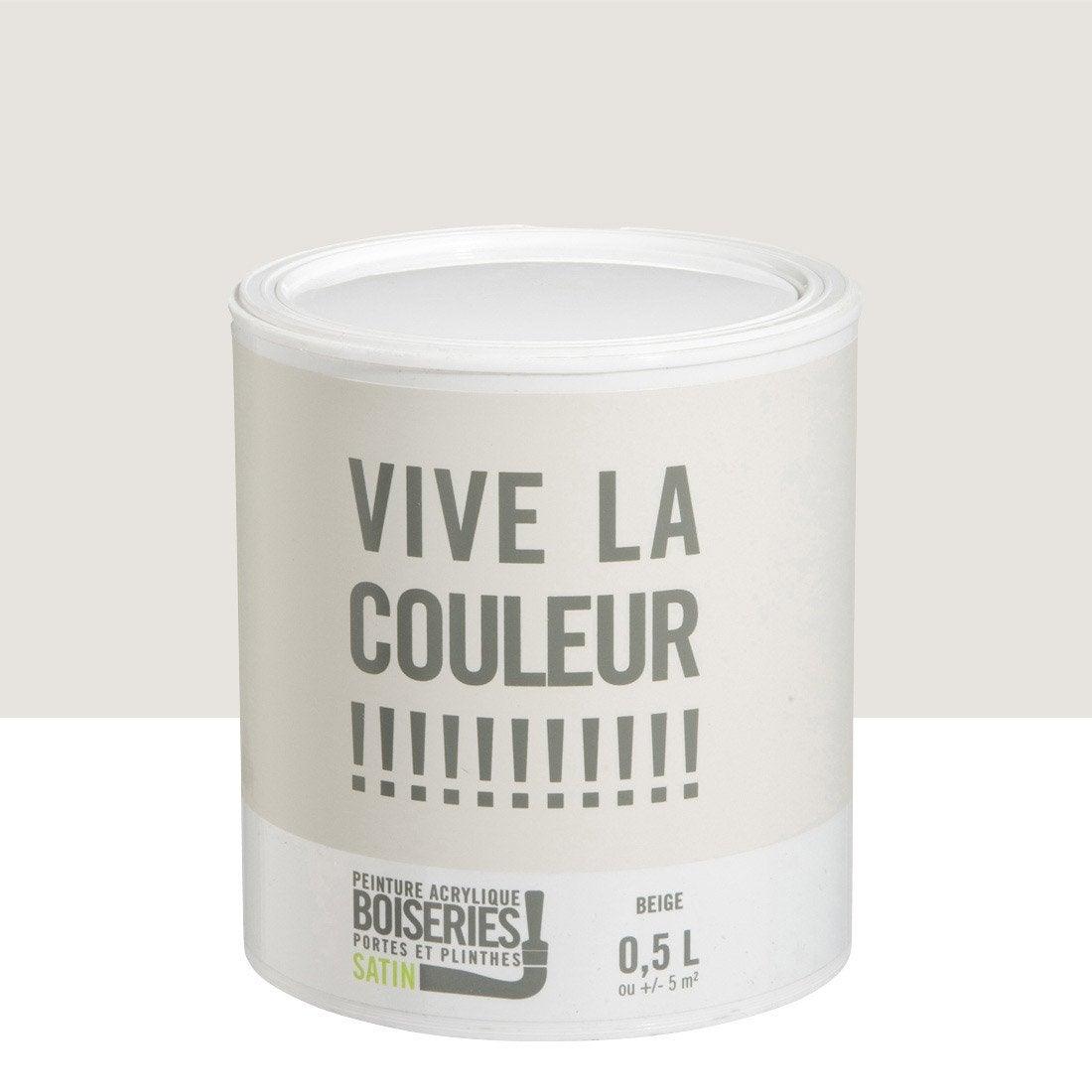 peinture boiserie vive la couleur beige 0 5 l leroy merlin. Black Bedroom Furniture Sets. Home Design Ideas