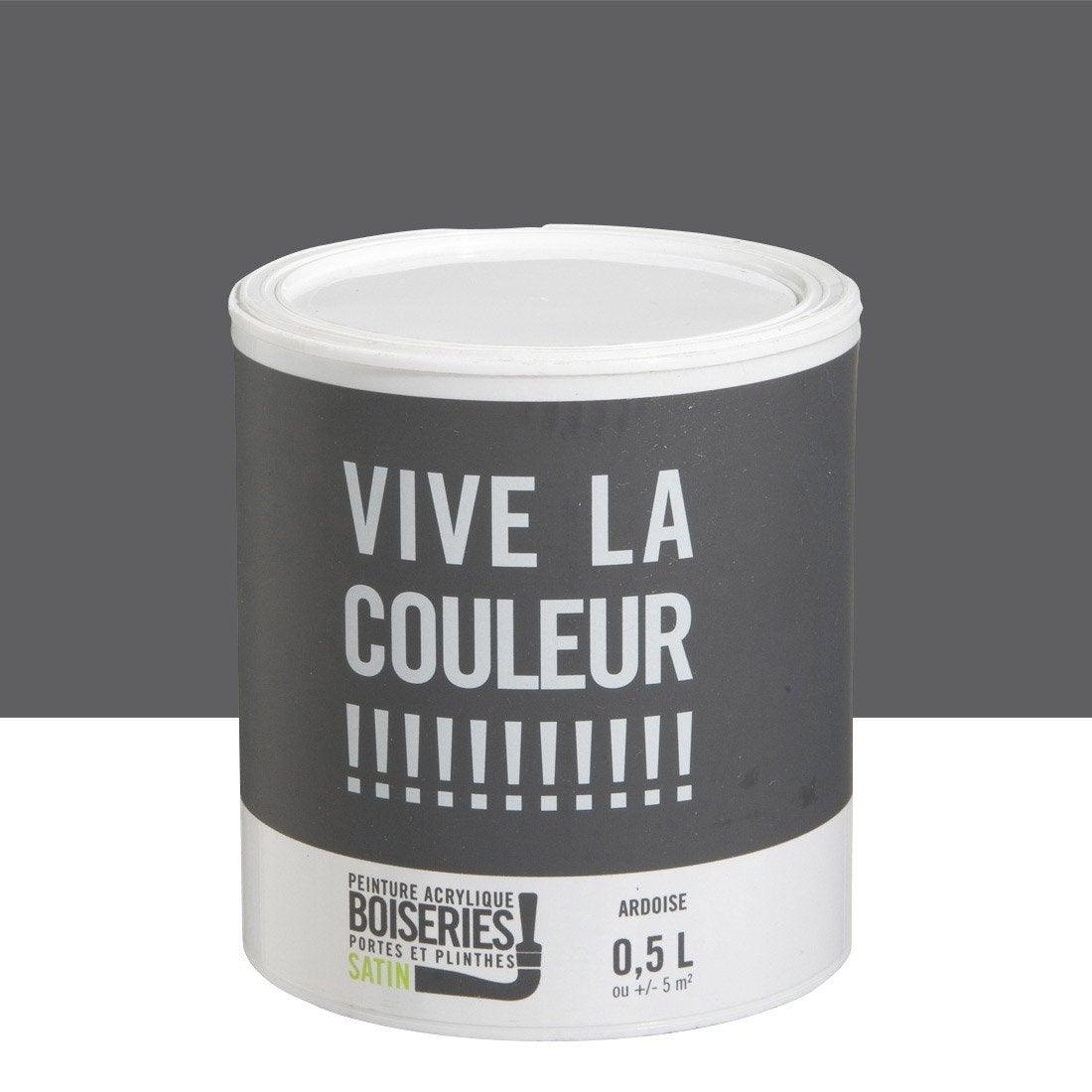 Peinture gris ardoise vive la couleur 0 5 l leroy merlin for Peinture facade gris ardoise