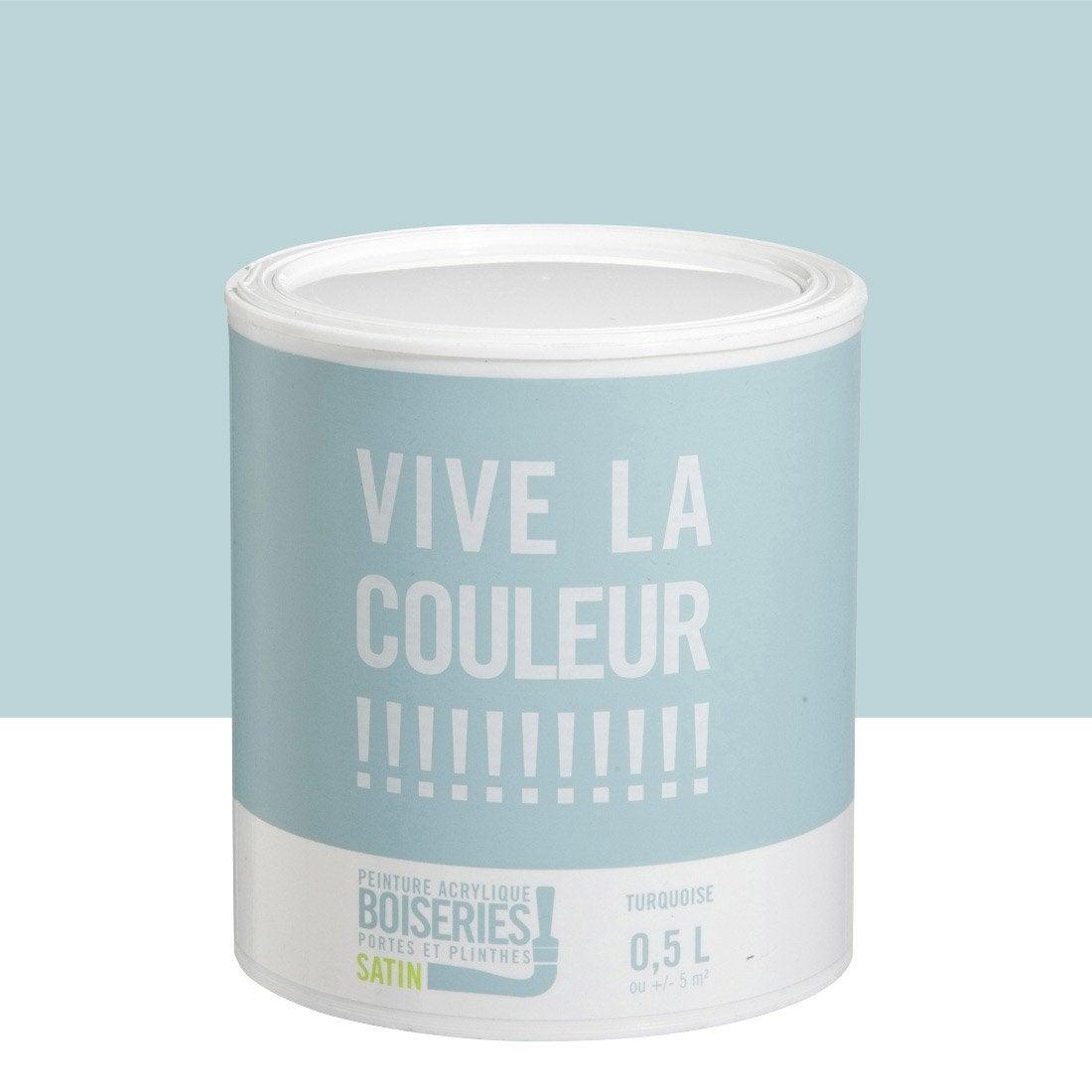 Peinture bleu turquoise vive la couleur 0 5 l leroy merlin for Peinture cuisine bleu turquoise