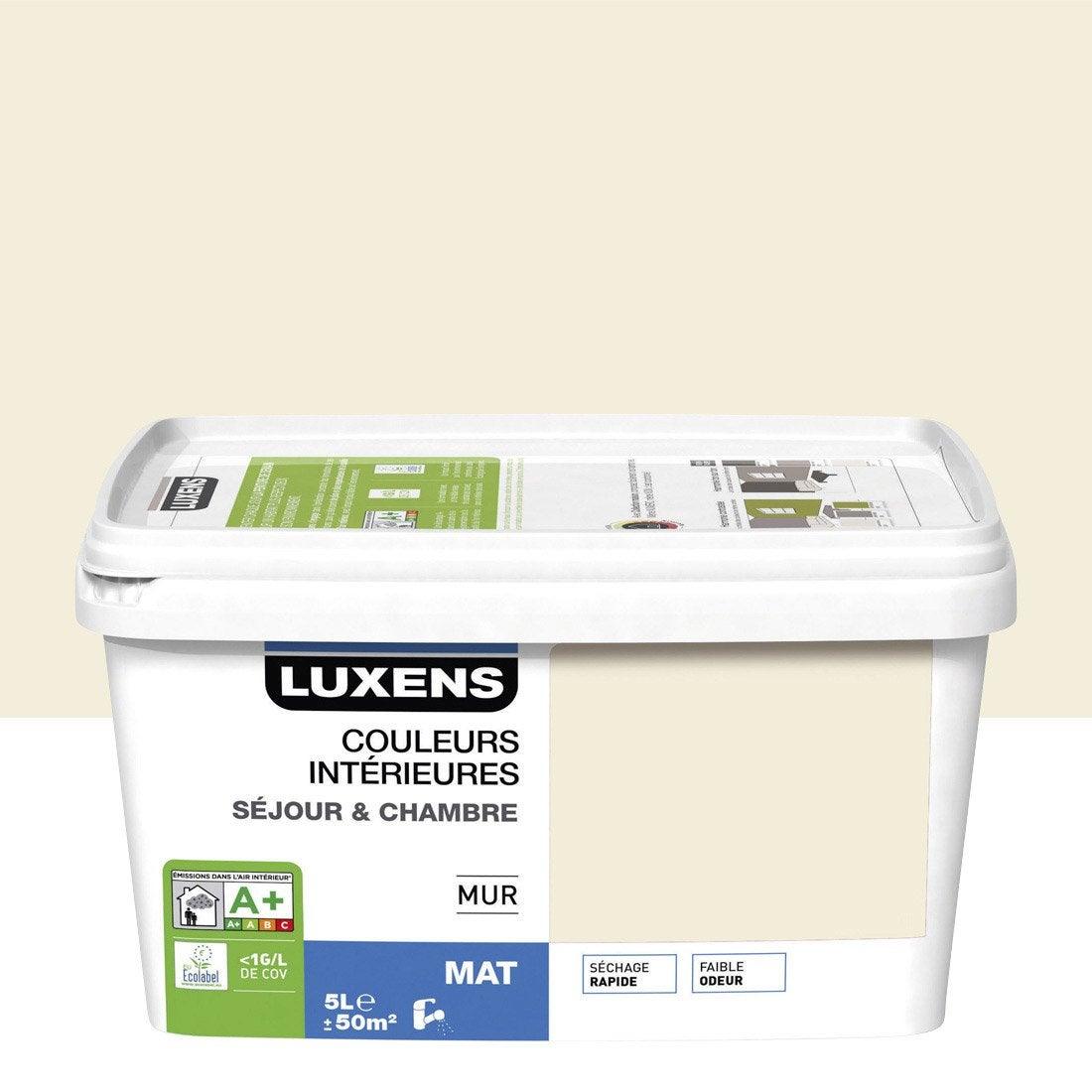 peinture blanc ivoire 3 luxens couleurs int rieures 5 l leroy merlin. Black Bedroom Furniture Sets. Home Design Ideas