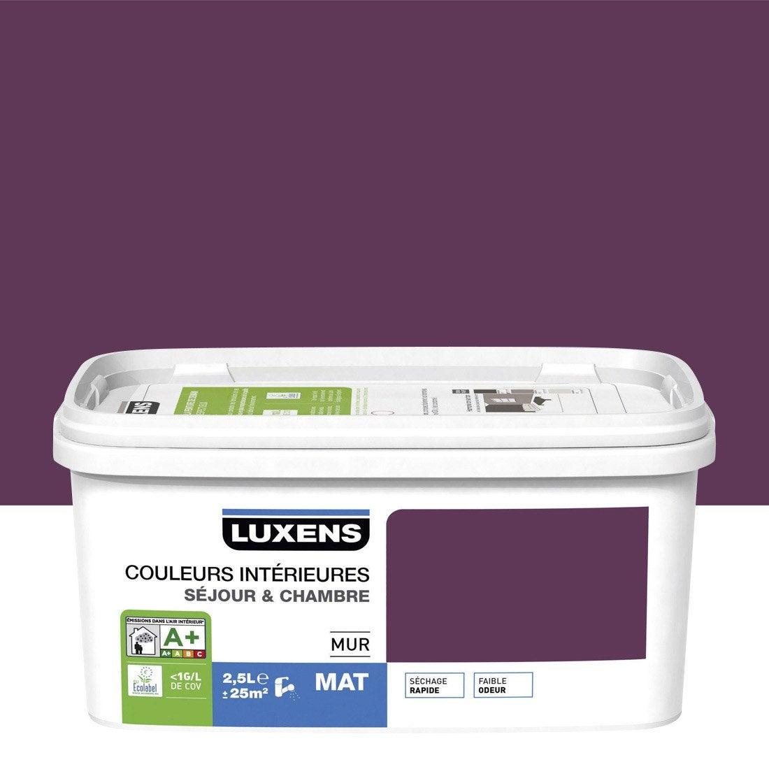 Peinture violet aubergine 2 luxens couleurs int rieures 2 5 l leroy merlin for Peinture teinte leroy merlin