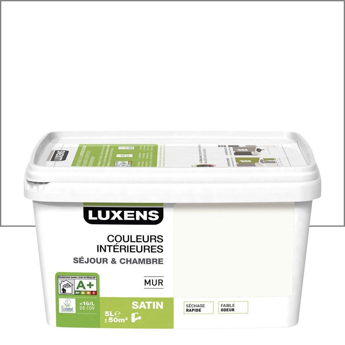 Peinture blanc calcaire 3 luxens couleurs int rieures 5 l - Peinture leroy merlin luxens ...