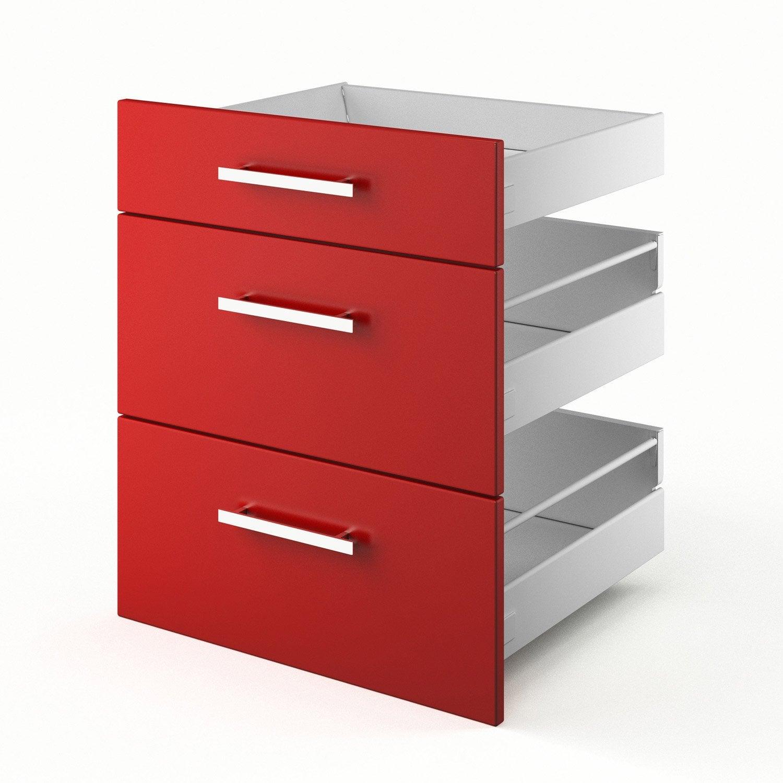 Idee Deco Chambre Bebe Hello Kitty : tiroirs de cuisine rouge 3D60 Délice, L60 X H70 X P55 cm  Leroy