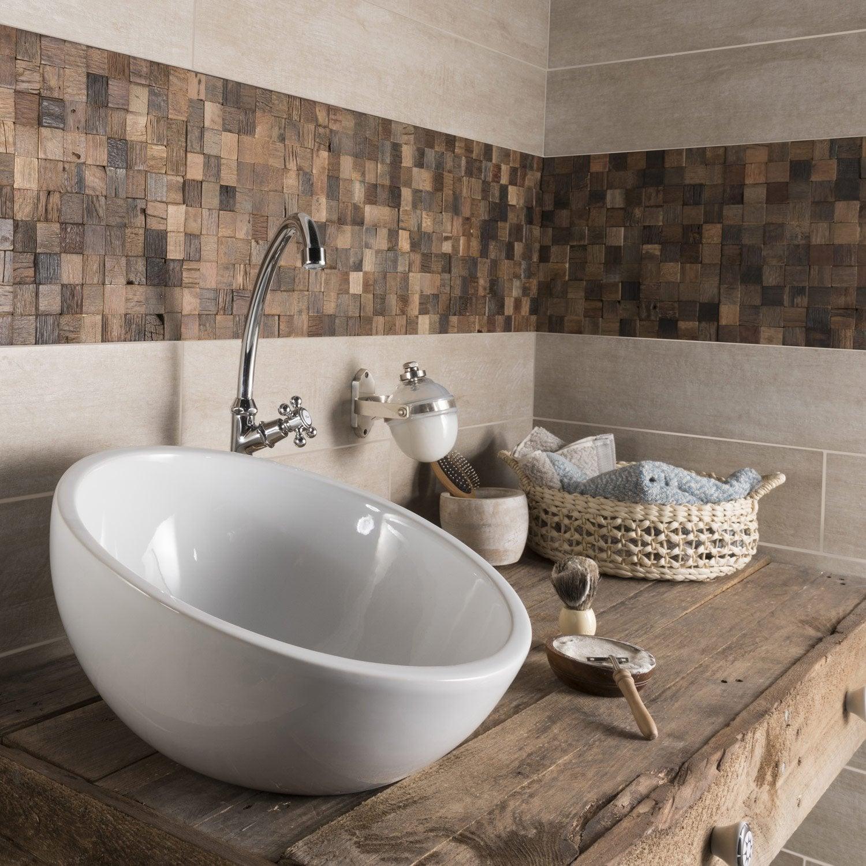 Carrelage sol et mur beige taiga x cm leroy for Carrelage salle de bain sol et mur