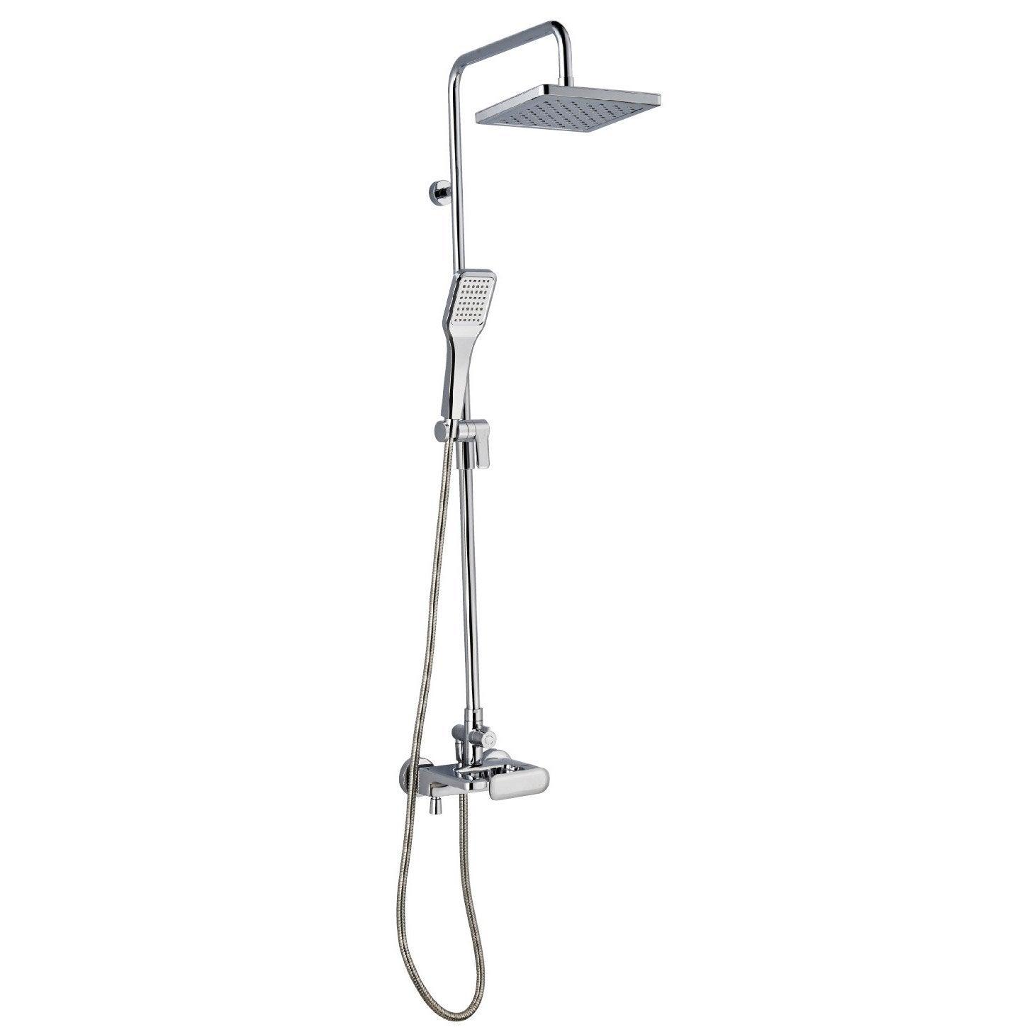 Colonne de douche et bain avec robinetterie sensea remix - Salle de bain avec baignoire sur pied ...