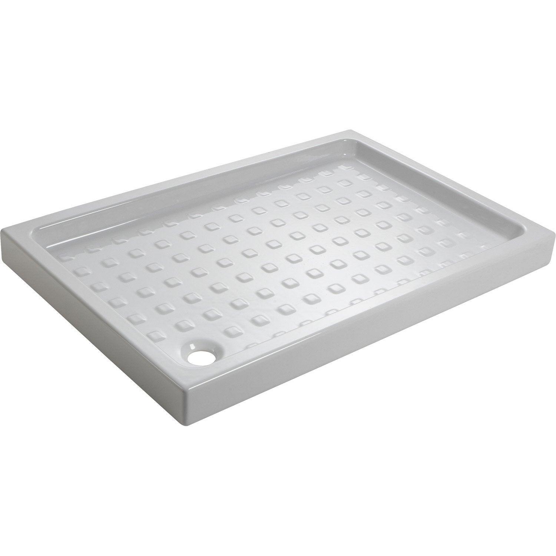 receveur de douche rectangulaire x cm gr s blanc nerea leroy merlin. Black Bedroom Furniture Sets. Home Design Ideas