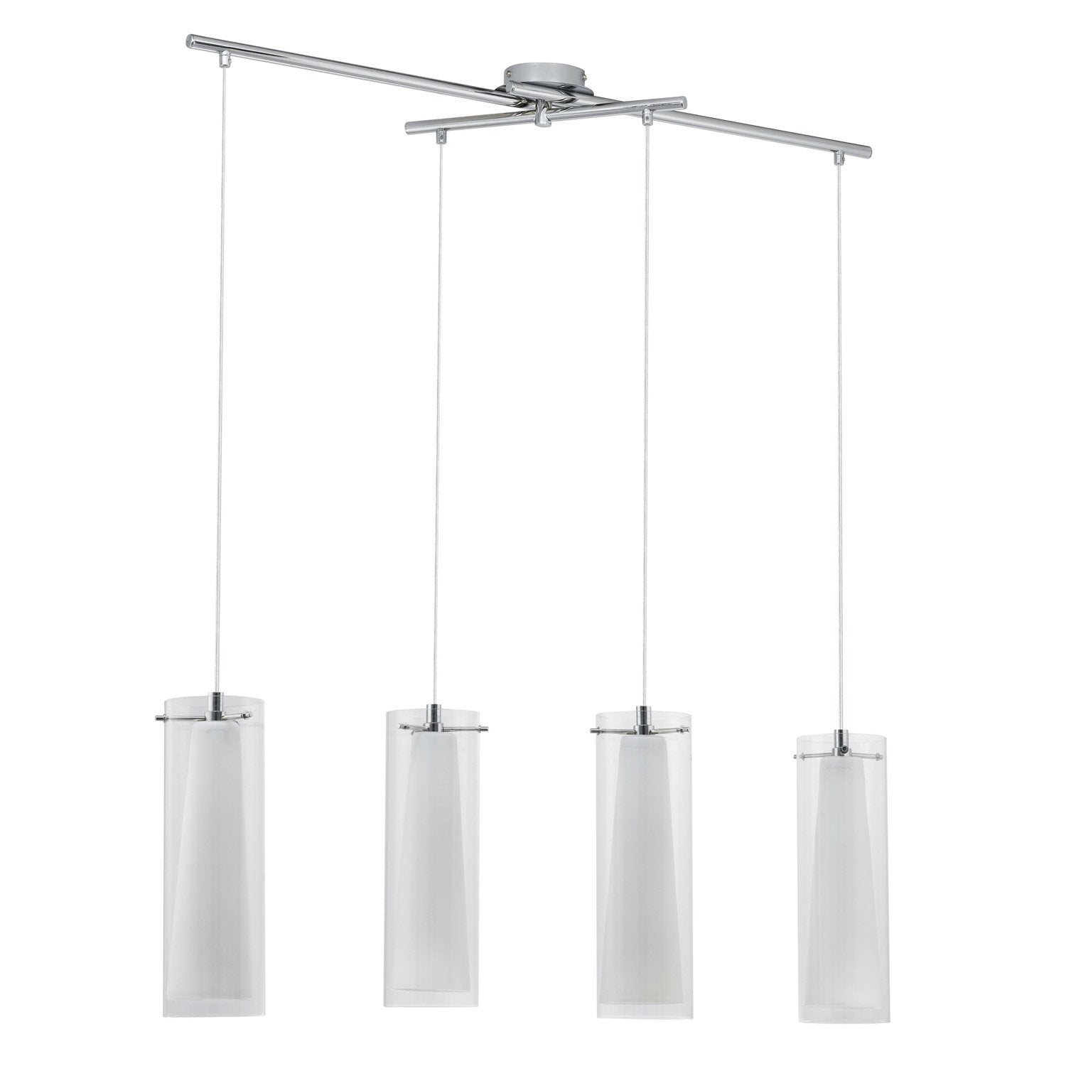 Suspension contemporain pinto verre chrom 4 x 60 w eglo leroy merlin - Suspensions leroy merlin ...