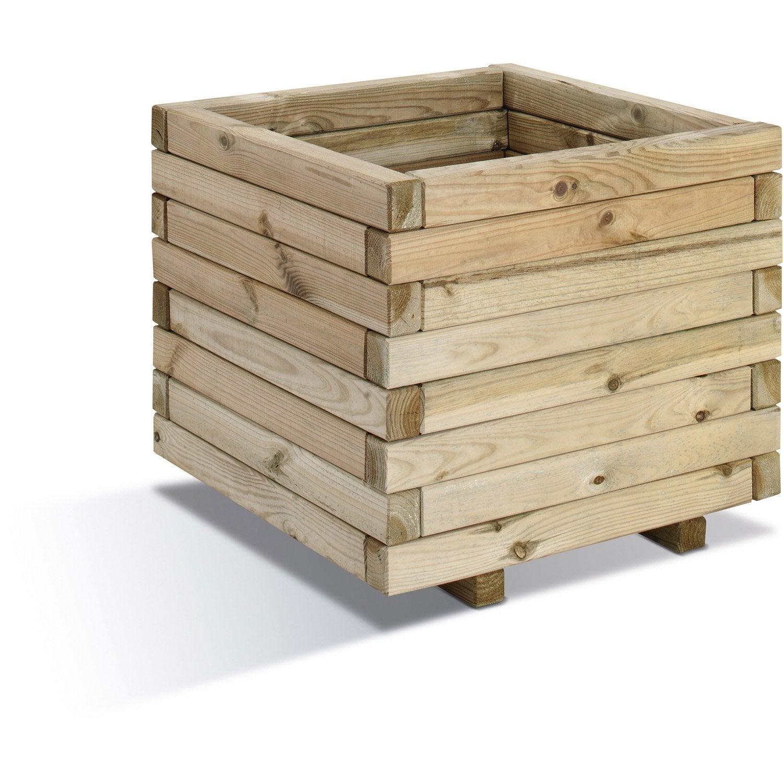Bac A Fleur En Bois Leroy Merlin : Bac en bois BURGER, 0281061, L.50cm x l.50cm x H.43cm Leroy Merlin