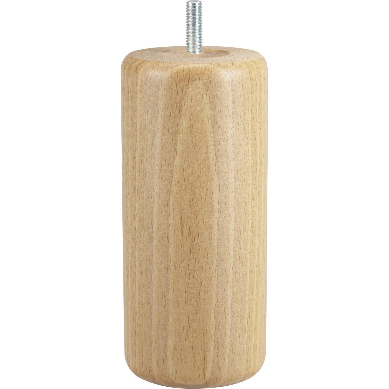 Pied de meuble cylindrique fixe h tre vernis blanc 15 cm - Leroy merlin pied meuble ...