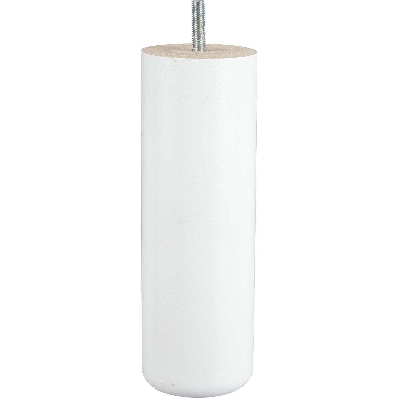 pied de lit sommier cylindrique fixe en h tre laqu blanc 20cmx68mm leroy merlin. Black Bedroom Furniture Sets. Home Design Ideas