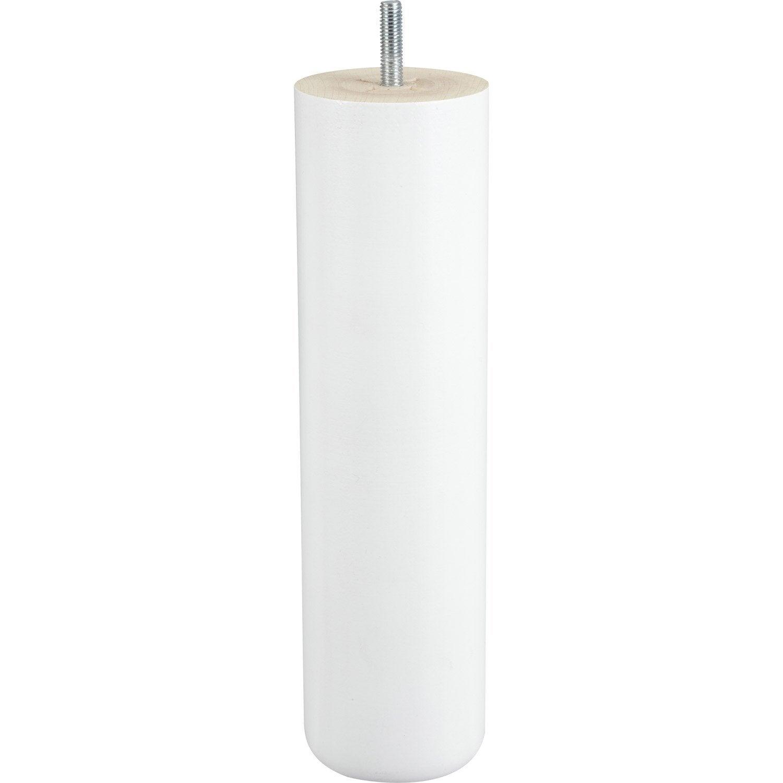 Pied de lit sommier cylindrique fixe en h tre laqu blanc 25cmx68mm leroy - Pieds de lit leroy merlin ...