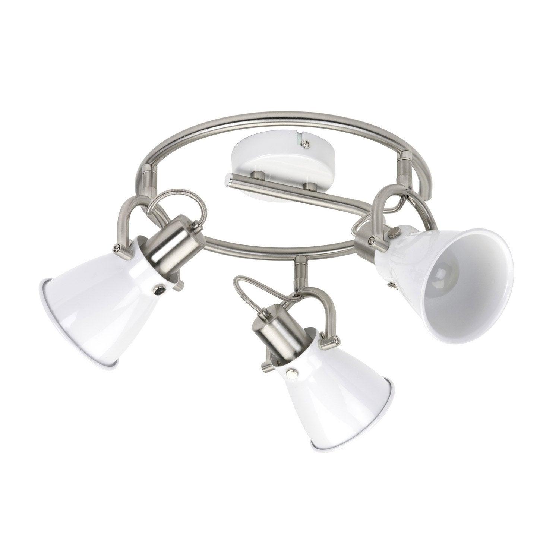 plafonnier 3 spots sans ampoule 3 x e14 blanc denver leroy merlin. Black Bedroom Furniture Sets. Home Design Ideas