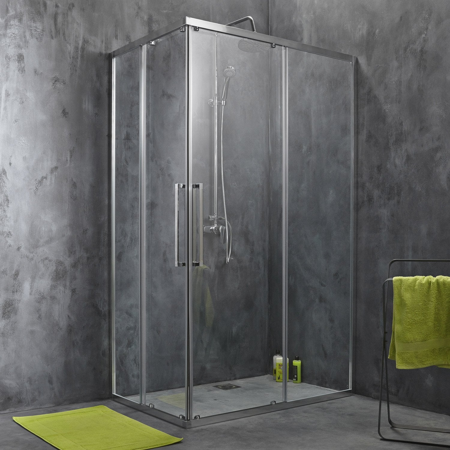 Porte de douche coulissante angle rectangle 120 x 80 cm transparent purit - Porte de douche angle ...