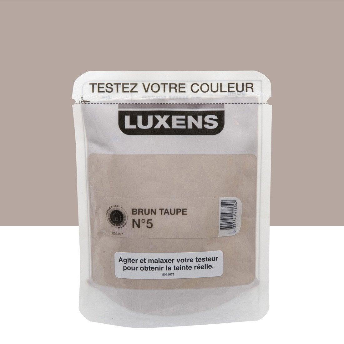 Testeur peinture brun taupe 5 luxens couleurs int rieures satin l leroy merlin for Peinture mur leroy merlin