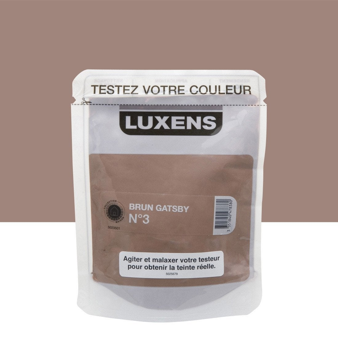 Testeur peinture brun gatsby 3 luxens couleurs int rieures satin l ler - Couleur leroy merlin ...