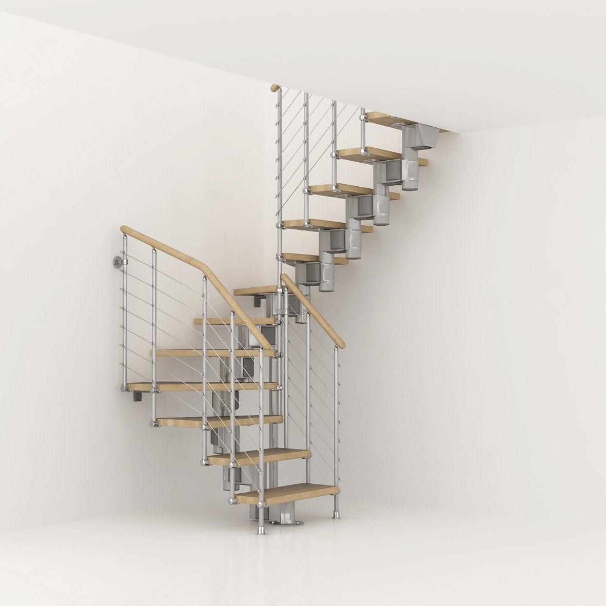 escalier modulaire long structure m tal marche bois. Black Bedroom Furniture Sets. Home Design Ideas