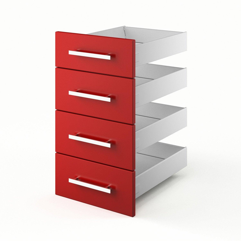 tiroirs de cuisine rouge 4D40 Délice, L40 X H70X P55 cm  Leroy