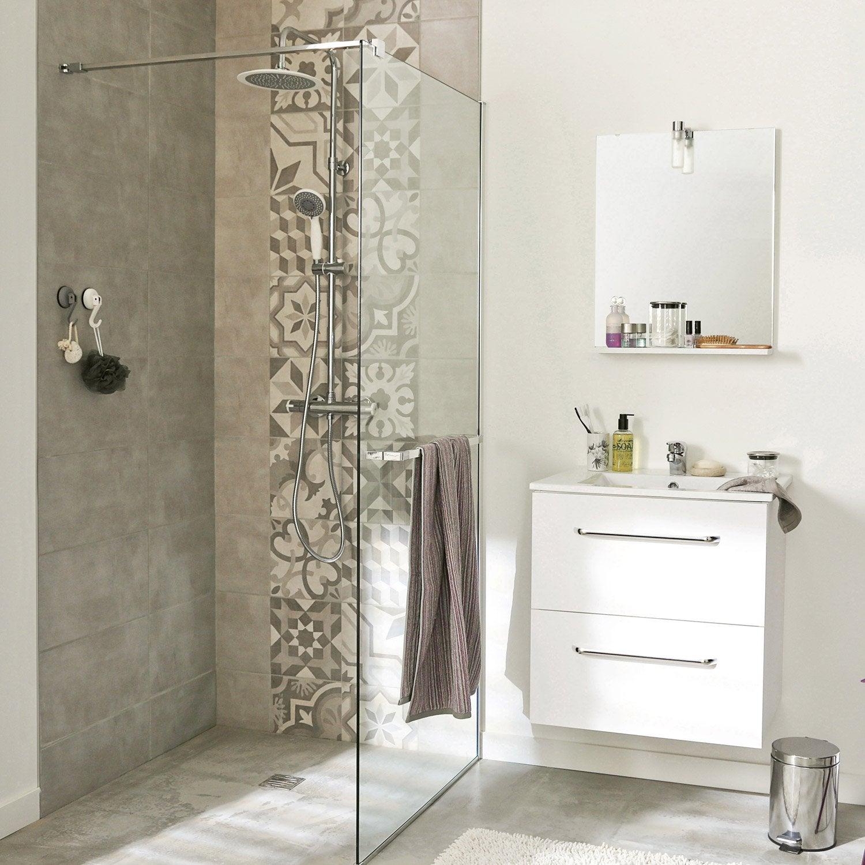 Paroi de douche à l'italienne Cube, profilé chromé, l.90 cm ...