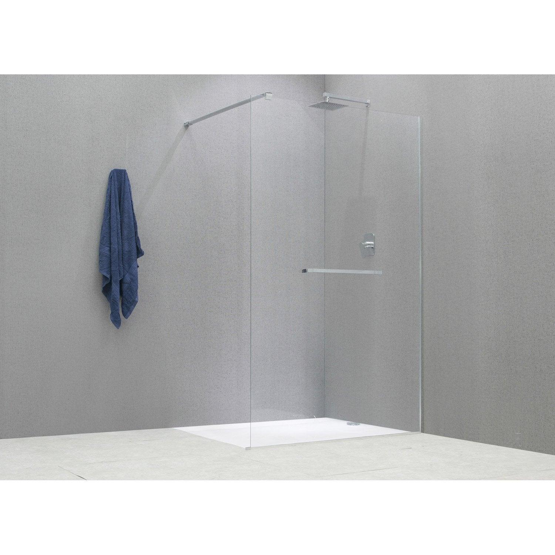 Paroi de douche l 39 italienne cm verre transparent 8 mm cube ler - Vitre pour douche italienne ...