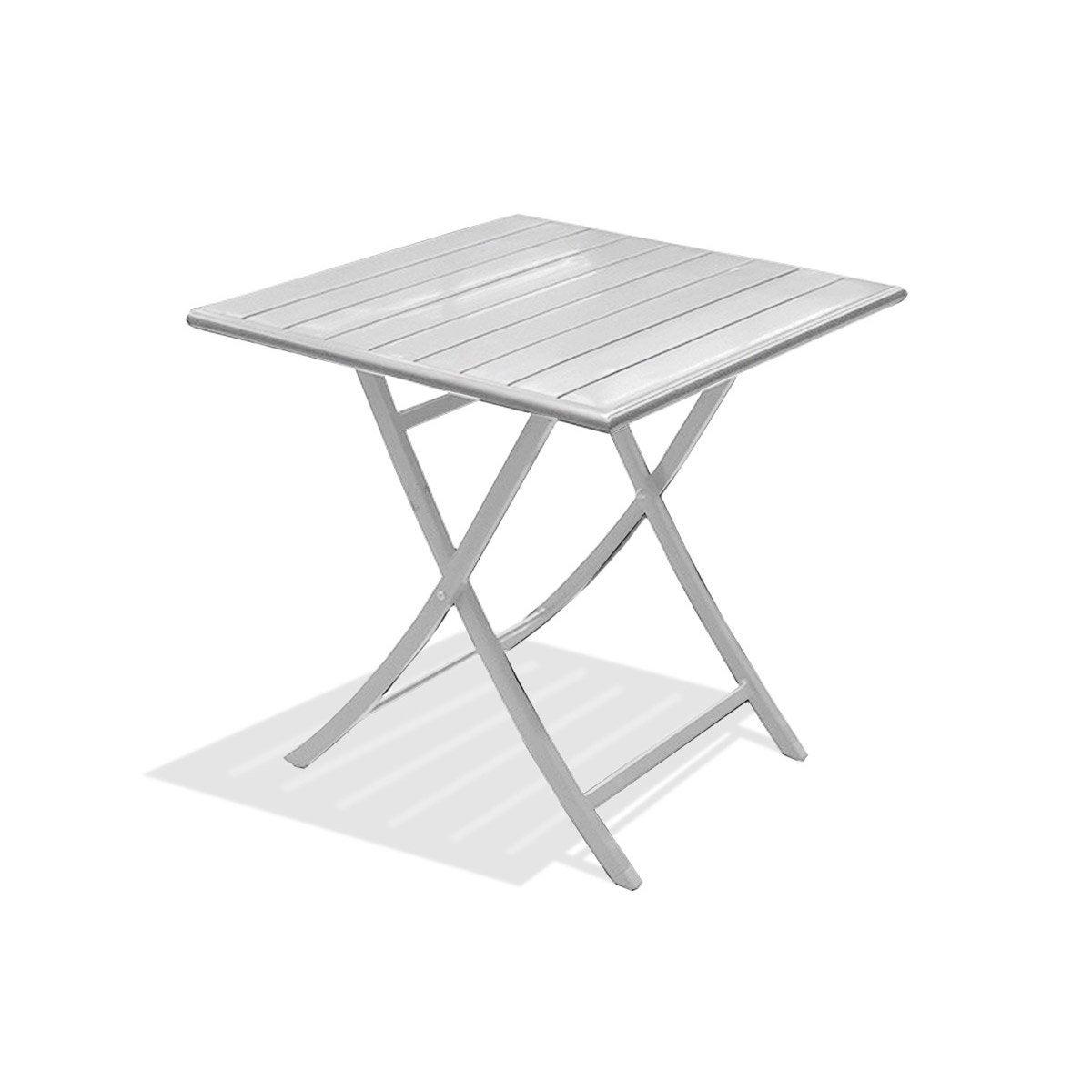 Table de jardin marius carr e gris m tal 2 personnes - Table de jardin aluminium leroy merlin ...