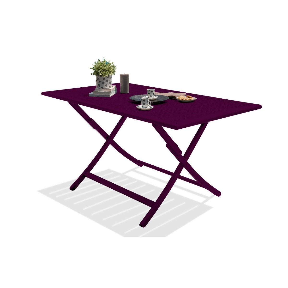 Table de jardin marius rectangulaire aubergine 4 6 for Table de salon petite taille