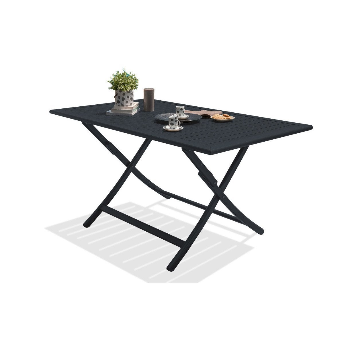 Table de jardin marius rectangulaire gris anthracite 4 6 for Table extensible leroy merlin