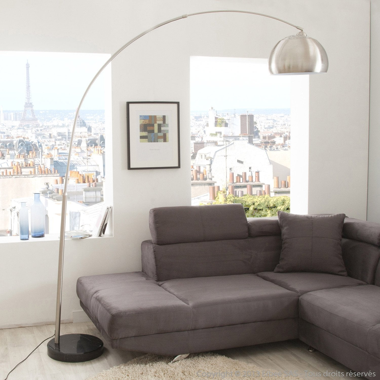 lampadaire big sofa inspire 222 cm chrom 60 w leroy merlin. Black Bedroom Furniture Sets. Home Design Ideas